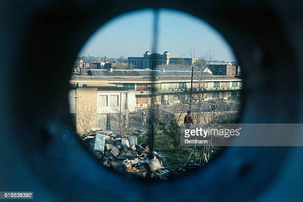 View through a simulated telescopic gunsight shows what the killer of Dr Martin Luther King may have seen just before he fired the fatal bullet on...