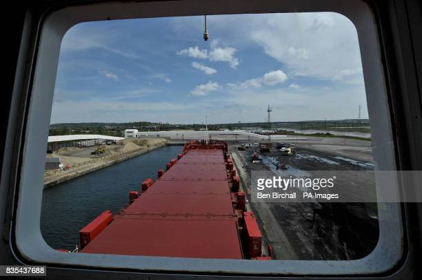 A view through a window in the wheel room of the OMG Kolpino Russian cargo ship pictured at Avonmouth docks Bristol where its crew of 12 sailors has...