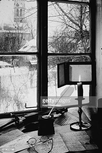 View through a window of the home of German composer Ludwig van Beethoven in Heiligenstadt Austria mid 1900s Beethoven first moved there in April...