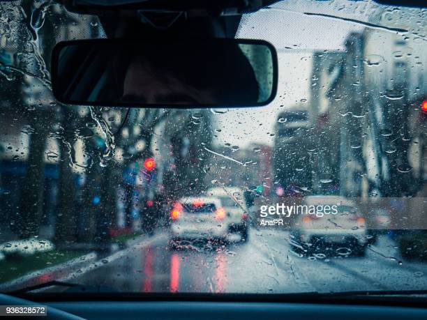 View through a windscreen of traffic in the rain, Andalucia, Spain