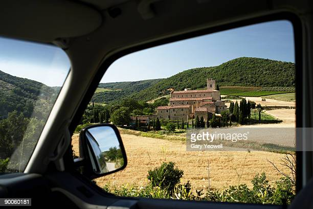 view through car window of sant' antimo church - yeowell stock photos and pictures