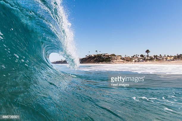 'View through crest of wave, Encinitas, California, USA'