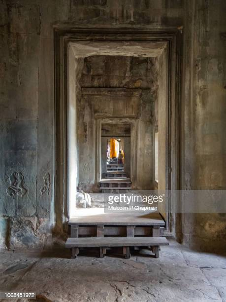 "view through doorways at angkor wat, siem reap, cambodia - cambodia ""malcolm p chapman"" or ""malcolm chapman"" stock pictures, royalty-free photos & images"