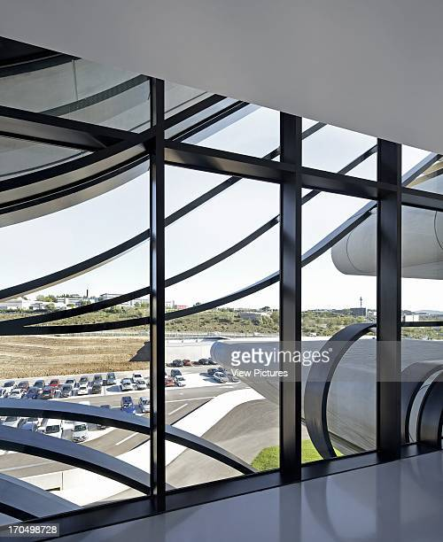 View through from upper foyer to visitor car park Pierresvives Building Montpellier France Architect Zaha Hadid Architects 2012