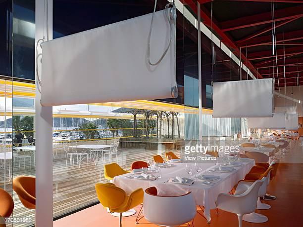 View through of restaurant interior and exterior terrace El Batel Conference Centre Selgascano Architects Cartagena Spain View through of restaurant...