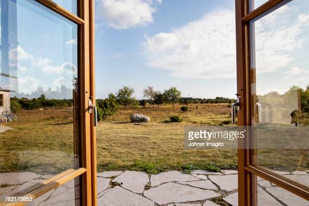 view through patio door - gotland bildbanksfoton och bilder