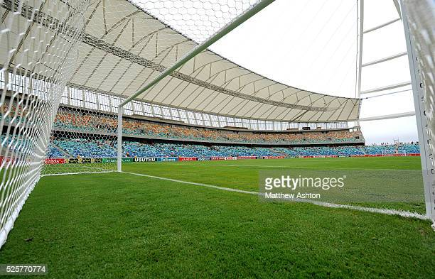 A view through the net in the Moses Mabhida Stadium in Durban South Africa one of the host city venues of the FIFA 2010 South Africa World Cup