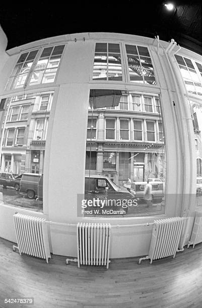 View through the window across Greene Street from inside the Leo Castelli Gallery New York New York January 4 1984