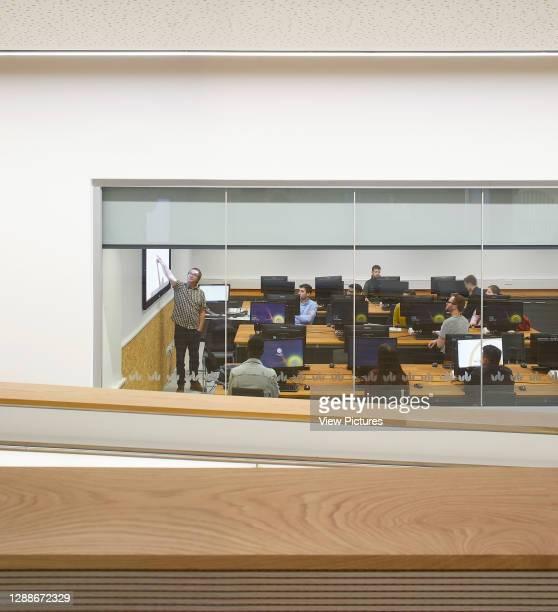 View through to computer lab. STEM Building - University of Bedforshire, Luton, United Kingdom. Architect: MCW, 2019.