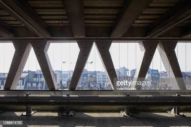 View through triangular concrete units. Welbeck Street Car Park, London, United Kingdom. Architect: Michael Blampied and Partners, 1070.