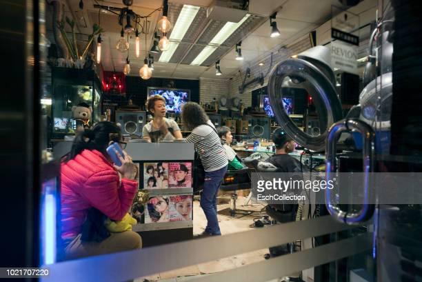 View through window of a typical hair salon in Hong Kong