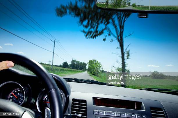 View through windshield of moving car