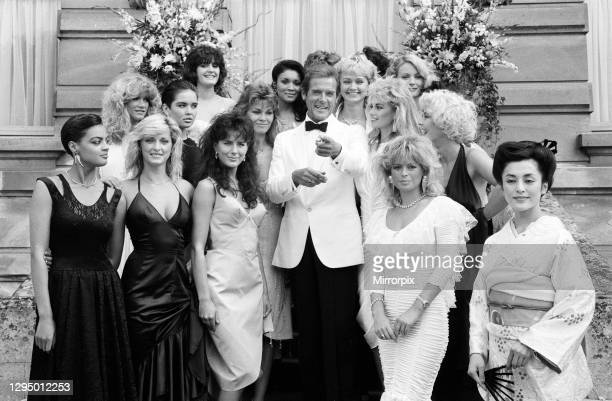 View to a Kill 1984 James Bond film, Photocall outside The Chateau de Chantilly in France, Thursday 16th August 1984, Roger Moore as James Bond, MI6...