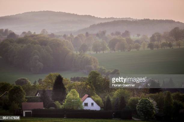 View to a small village in the evening light on April 29 2018 in Kunnersdorf Germany
