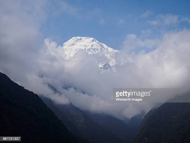 view to annapurna south himalayan peak, nepal - annapurna south stock photos and pictures