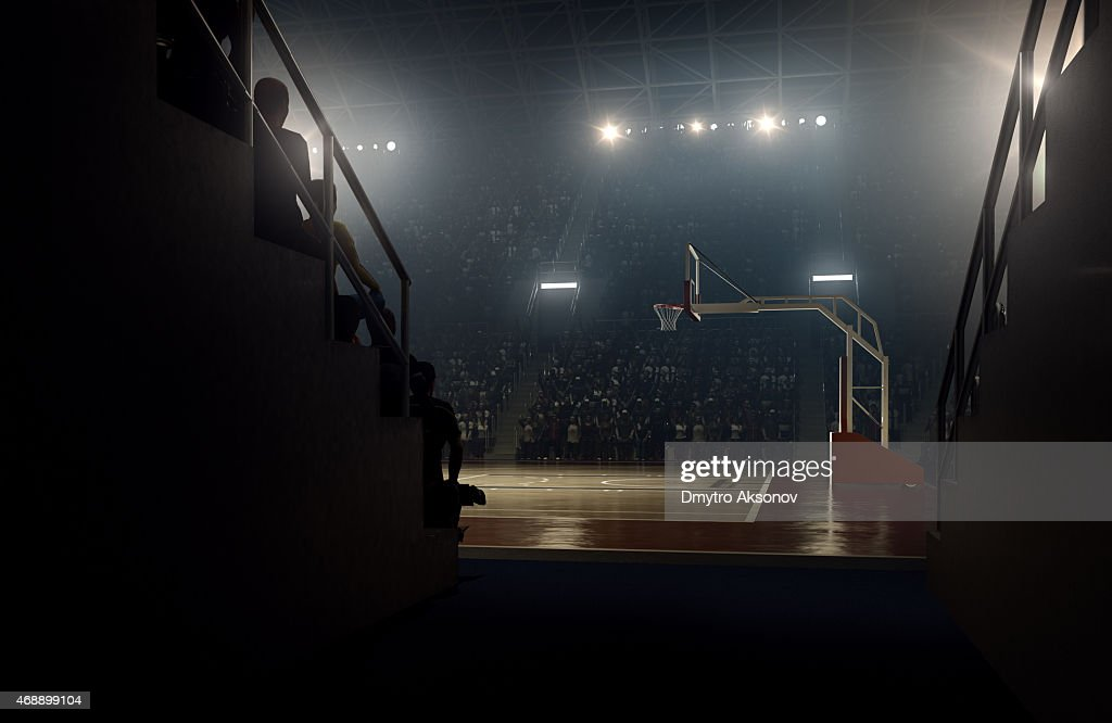 View to basketball stadium from players zone : Stock Photo