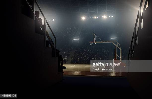 view to basketball stadium from players zone - flare stack stock photos and pictures