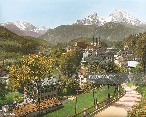 View to Berchtesgaden from Nonntal Germany Handcolored lantern slide around 1900