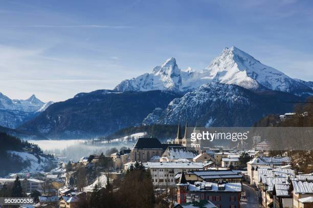 view to berchtesgaden with watzmann (bavaria/ germany) - berchtesgaden national park stock photos and pictures