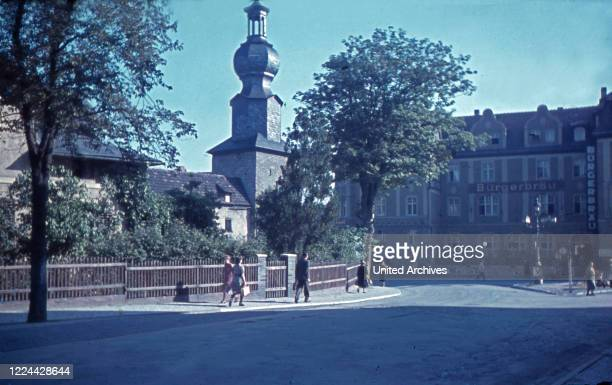 View to Blankenburger Tor gate at the city of Saalfeld in Thuringia, Germany 1930s.