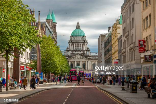 view to city hall in belfast - northern ireland stock pictures, royalty-free photos & images