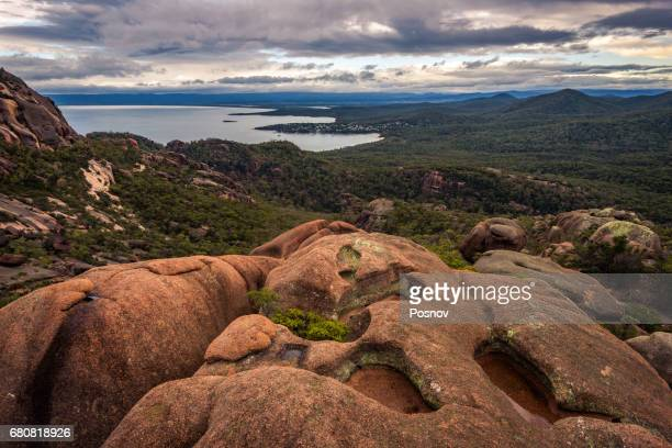 View to Coles Bay from mt Parsons, Freycinet National Park, Tasmania