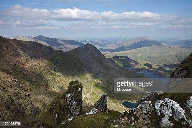View to Crib Goch and the Pyg Track with Llyn Glaslyn and Llyn Llydaw from Snowdon summit Gwynedd Wales United Kingdom