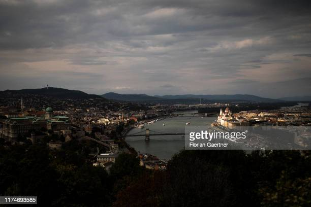 View to Donau river on October 02 2019 in Budapest Hungary