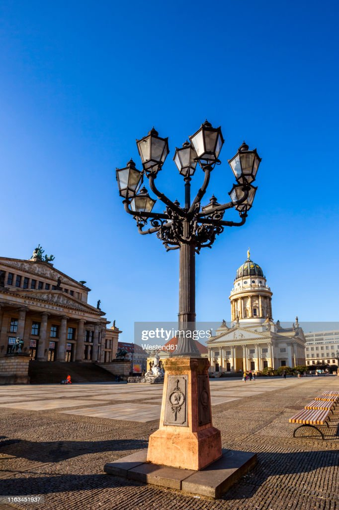 View to French Cathedral and conzert hall at Gendarmenmarkt, Berlin, Germany : Stock Photo