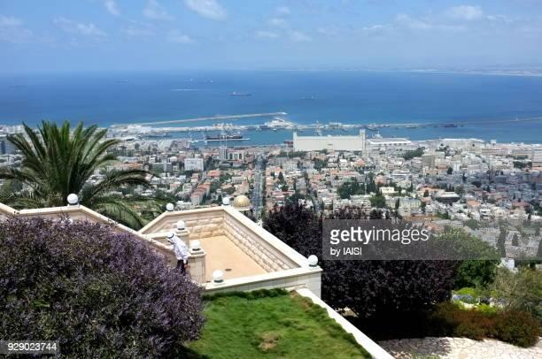 A view to Haifa and Haifa bay seen from the terrace of the Ba'hai gardens