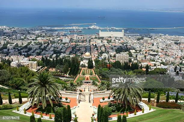 a view to haifa bay and baha'i gardens - persian stock photos and pictures