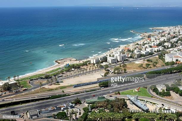 a view to haifa bay and the clandestine immigration and naval museum - national world war ii memorial stock pictures, royalty-free photos & images
