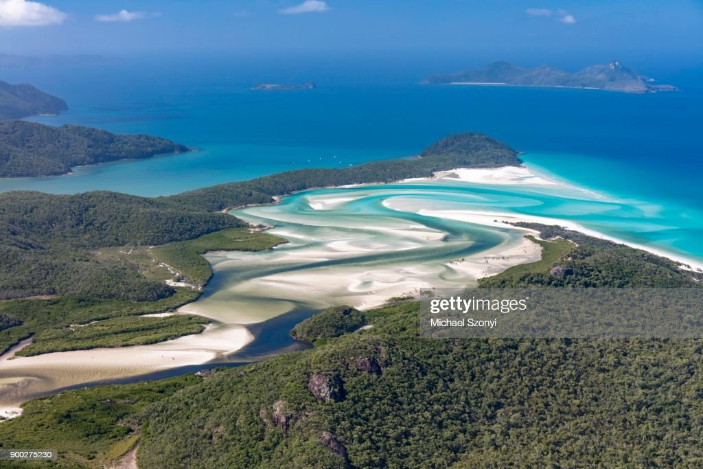 View to Hill Inlet and Whitehaven beach, river meanders, behind Border Island, Whitsunday Islands, Queensland : Stock Photo