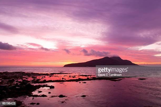 View to Holy Isle at dawn, Arran, Scotland