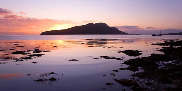 View to Holy Isle at sunrise, Arran, Scotland