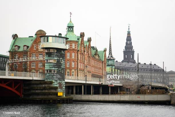 View to Knippels bascule bridge and Christiansborg Palace in Copenhagen, Denmark on February 7, 2020.