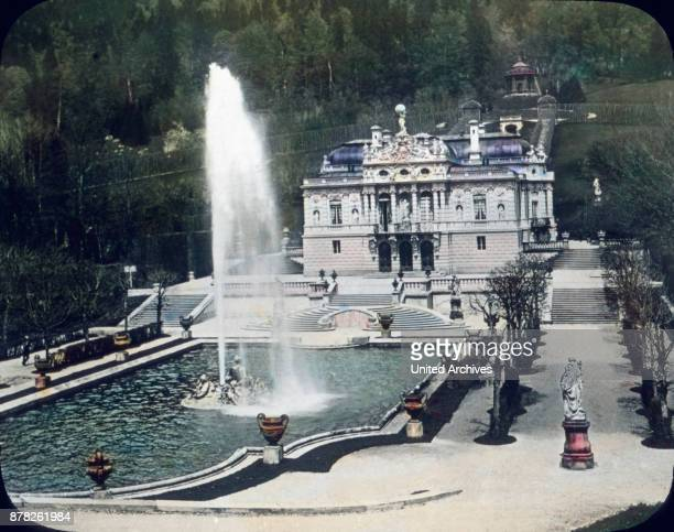 View to Linderhof castle at Ettal in Bavaria