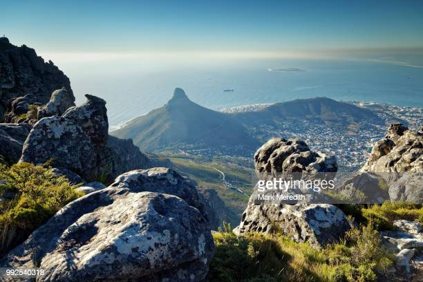 view to lion's head and signal hill from table mountain - 岩 ストックフォトと画像