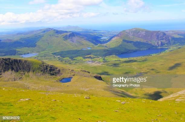 View to Llyn Cwellyn lake, Mount Snowdon, Gwynedd, Snowdonia, north Wales, UK.