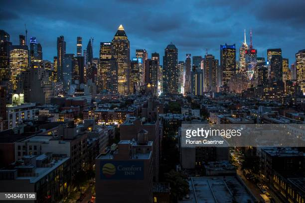 View to Manhattan during blue hour on September 27 2018 in New York United States