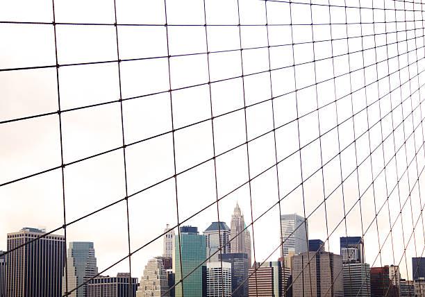 View To NYC Through Brooklyn Bridge Wall Art