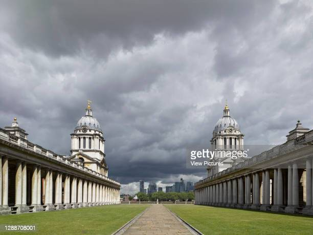 View to river. Old Royal Naval College, London, United Kingdom. Architect: Sir Christopher Wren, Nicholas Hawksmoor, 2019.