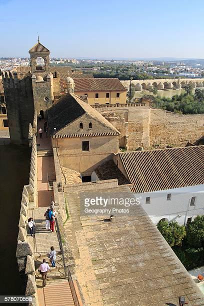 View to Roman bridge and river Rio Guadalquivir from Alcazar Cordoba Spain Alc‡zar de los Reyes Cristianos