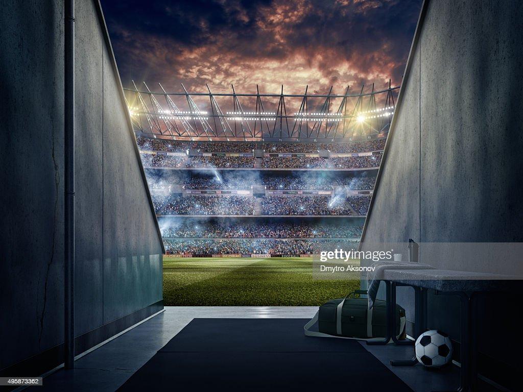 Blick auf das Fußballstadion von Spielern zone : Stock-Foto