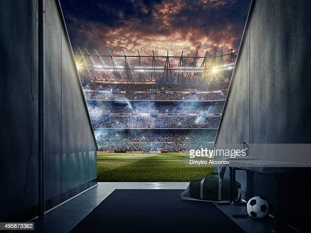 view to soccer stadium from players zone - voetbalveld stockfoto's en -beelden
