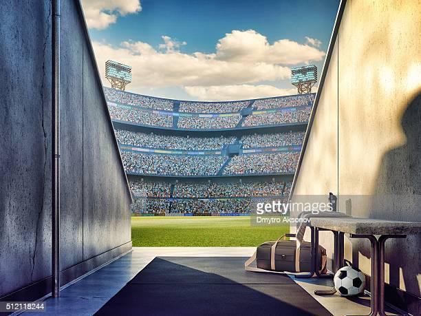 vista de um estádio de futebol de jogadores zona - campo de futebol imagens e fotografias de stock