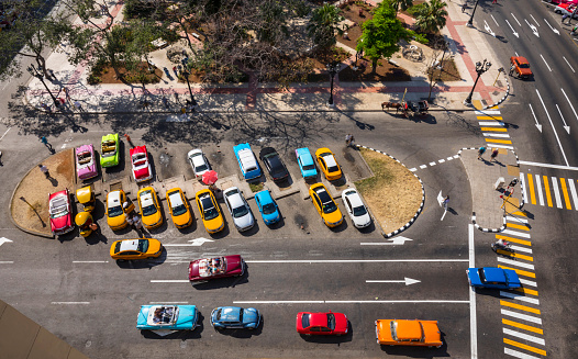 View to street withcars, Cocotaxi and  carriage from above, Havana, Cuba - gettyimageskorea