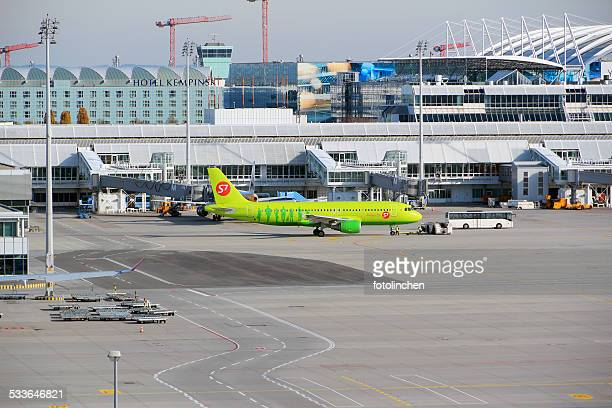 view to the airport munich - munich airport stock photos and pictures