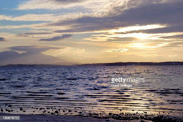 View to the Bavarian alps over lake Chiemsee at sunset, Bavaria, Germany