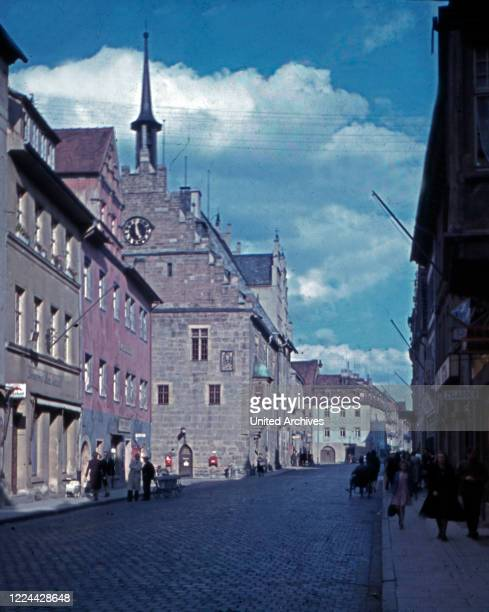 View to the city hall of the town of Neustadt at river Orla in Thuringia, Germany 1930s.